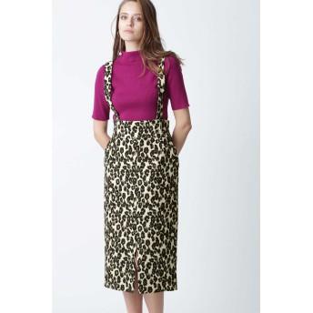 PINKY & DIANNE レオパードジャガードサスペンダースカート ひざ丈スカート,ベージュ1