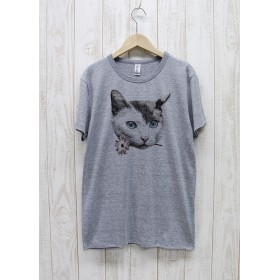 ronronCAT Tee Here you go(ヘザーグレー) / R028-TT-GR
