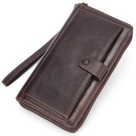 LEIHALAメンズ財布 携帯電話ホルダー付き男性財布高級男性クラッチ財布ロング財布男性マネーバッグビッグウォレット