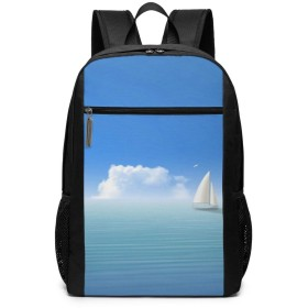 Xzdcvqwedadc 青、海、ボート ラップトップ用バックパック、17インチ大容量バックパック、キャンパスバックパック、大人用バックパック、旅行用バックパック、屋外登山用バッグ、ユニセックス