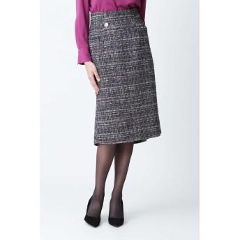 PINKY & DIANNE カスリツイードバックマーメイドスカート ひざ丈スカート,ブラック1