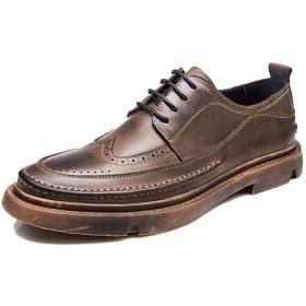 [ジョイジョイ] オックスフォードシューズ メンズ レトロ ビジネス 木目 カジュアルシューズ 紐靴 ウィングチップ 軽量 厚底 ローカット 歩きやすい ワーク 作業 脱げにくい クッション お洒落 レザー ブラウン 黒