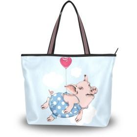 Chovy レディース トートバッグ メンズ 大容量 軽量 カバン 通勤 通学 A4 バッグ 高校生 中学生 アウトドア 旅行 肩掛け 手揚げバッグ ハンドバッグ 豚 豚柄 ハート動物柄 かわいい 可愛い
