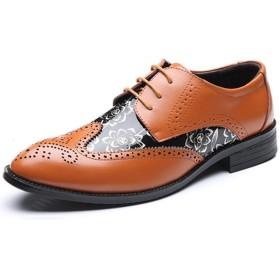 [ジョイジョイ] レザーシューズ カービング ポインテッド ビッグサイズ ウィングチップ 紳士靴 カジュアル レースアップ フラット 通気性 印刷 耐摩耗性 オックスフォード メンズ ドレス ビジネスシューズ