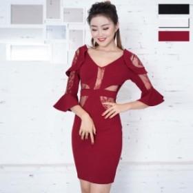 キャバ ドレス セール ミニ セクシードレス キャバクラドレス 安い 激安 可愛い 送料無料 セクシーレース透け魅せフリルミニドレス