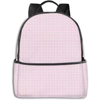 ピンクの格子 リュック バックパックリュックサック 大容量 PCバッグ レジャーバッグ 旅行カバン 登山リュック ビジネスリュック ユニセックス おしゃれ 人気