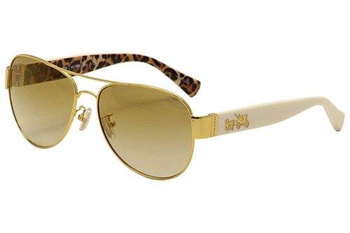 COACH【美國代購】女款 L138 太陽眼鏡 金屬框HC7059-牙色豹紋a