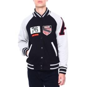 ヘリテイジ Heritage America メンズ ブルゾン アウター fleece varsity jacket Black/Heather Grey