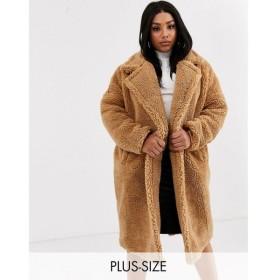 ミスガイデッド Missguided Plus レディース コート ロングコート ロング丈 アウター longline borg coat in tan タン