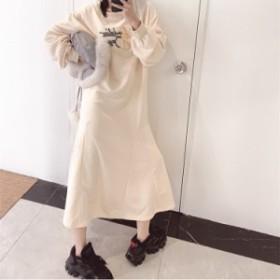 【2019AW】秋冬新着 暖かいスウェットワンピース ロングプルオーバー 刺繍 韓流ファッション 可愛いカラー マカロンカラー オーバ