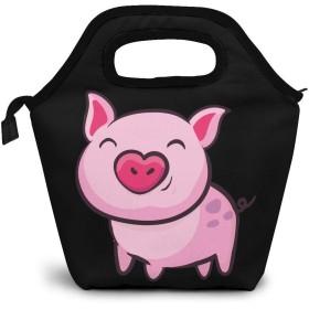 ランチバッグ 保冷バッグ 弁当袋 お弁当 クーラーバッグ トートバッグ 保冷ポーチ 食品収納 大容量 保冷保温 ファスナー付き 大きめ 通勤 通学 遠足 旅行 ピクニック ピンク色の豚 軽量 男女兼用