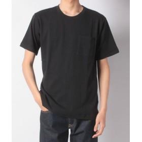 (nano・universe/ナノ・ユニバース):ジャガードサッカーストライプTシャツ/メンズ ブラック