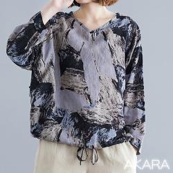 AKARA 粉紫繪版畫文藝長袖上衣