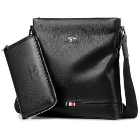 YoungMax ビジネスバッグ ipad対応 2way 就活 通勤 出張 メンズ ショルダー 手提げ ブリーフケース 撥水 大容量 (ブラック B 2セット)