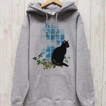 佇む黒猫 BIG HOODIE 窓辺NOON(ヘザーグレー) / R029-PB-GR