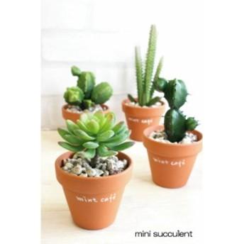 ミニサキュレント  多肉植物  テラコッタ鉢 (Succulent)  造花 インテリア CT触媒 フェイクグリーン 観葉植物