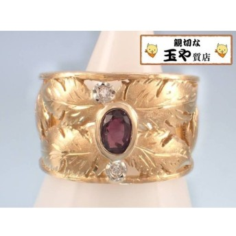 トレベール TRES BELLE パープルサファイヤ ダイヤ 葉 デザイン K18 指輪 13号