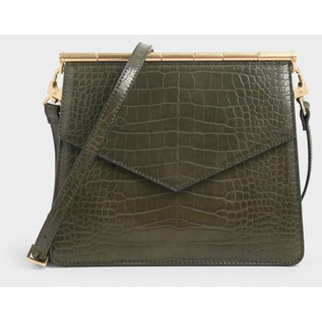 【2019 WINTER 新作】クロックエフェクト アンギュラークロスボディバッグ / Croc-Effect Angular Crossbody Bag (Olive)