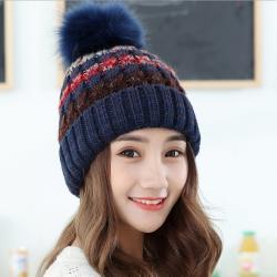 Acorn*橡果-韓系捲邊撞色內絨加厚保暖毛帽1811(藍色)
