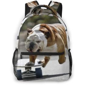 キャンバスバックパック カジュアル ビジネスバッグ バックパック リュックサック リュック レディース メンズ カップル 犬 スケート デイパック 大容量 多機能 プリント 通学 通勤 旅行 ファッション 快適