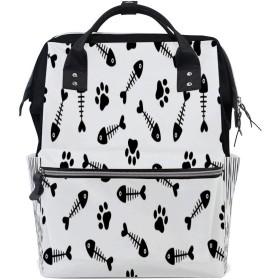 ZHIMI マザーズバッグ リュック レディース バックパック 可愛い 猫爪 魚柄 大容量 A4サイズ収納 ビジネス メンズ 背面ファスナー付き 防撥水 通勤 通学 男女兼用