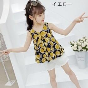 子供服 2點セット ノースリーブ Tシャツ +ショーツ 可愛い 上下 セットアップ女の子水玉柄 トップスTシャツ ショートパンツ