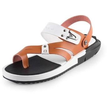 [GERUIQI] ウォーターシューズ、社外男性のためのファッションスライドサンダルは軽量で通気防水アンチスリップビーチ釣り浅リング足でスリップ (Color : White And Brown, サイズ : 24.5 CM)