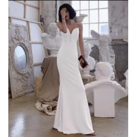 マーメイドドレス ロングドレス 結婚式 二次会 演奏会 発表会 披露宴 ウエディングドレス パーディードレス キャミソールワンピース ナイ