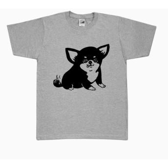 チワワ Tシャツ (グレー)ブラックタン 黒 犬
