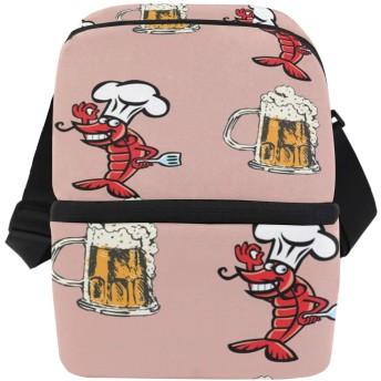 ビジネスアイスパック キャンバスバックパック 旅行用バックパック 極薄バックパック リュックサック ザリガニ ビール 大容量 ファッション 耐久性 多機能 ショッピング 学校