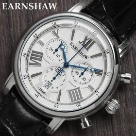 EARNSHAW アーンショウ 腕時計 クロノグラフ メンズ クオーツ 革ベルト ES-0016-01 ブラック