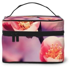 メイクポーチ 化粧ポーチ コスメバッグ バニティケース トラベルポーチ 花 ピンク 雑貨 小物入れ 出張用 超軽量 機能的 大容量 収納ボックス