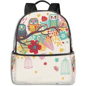 リュック 花の木のフクロウ バックパック メンズ レディース スクールバッグ 軽量 おしゃれ 通学 大容量 旅行 プレゼント 防水 リュックサック