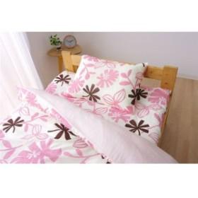 布団カバー 洗える 花柄 リーフ柄 『ルイード 掛け布団カバー』 ピンク セミダブル 約170×210cm