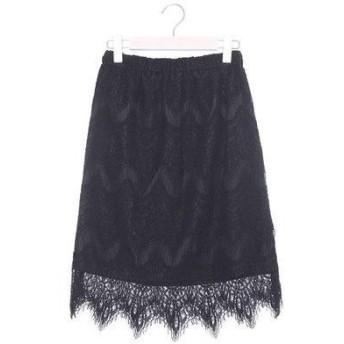 ファインセレクション FINE SELECTION 総レースタイトスカート (ブラック)