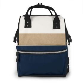 万洋 最新旅行 通勤 個性的 多機能レジャーバッグ リュック マザーズバッグ ベビー用品収納 出産準備 防水盗難防止ポケット シンプル大容量手提げ袋 かわいい -ネイビーとフェイクゴールドのレザー