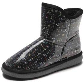 [YYQ-SHOP] ブーツ レディース 厚手 ショートブーツ 裏起毛 あったか スノーブーツ 滑り止め 防水 おしゃれ 靴 防寒 かわいい シューズ 冬(23黒)