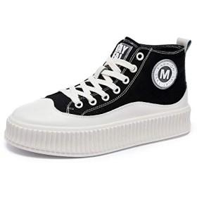 [JuMeiPin] ハイトップシューズ女性の厚底多目的キャンバス白い靴 (ブラック,23.5)