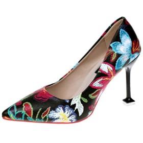 [ninifashion] パンプス 美脚パンプス ポインテッドトゥ とんがりトゥ レディース オフィス シューズ 美脚パンプス 女の子 花柄デザイン 靴 通勤 PUレザー ハイヒール 痛くない 通気性 軽量 柔らかい カジュアル
