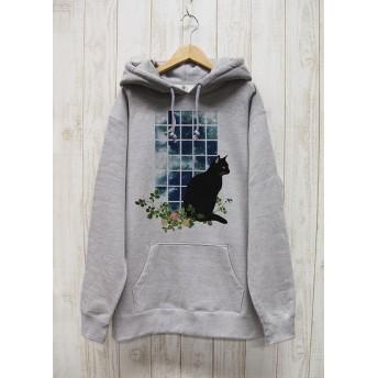 佇む黒猫 BIG HOODIE 窓辺MOON(ヘザーグレー) / R031-PB-GR