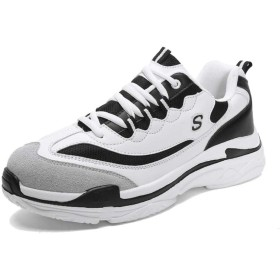 [ジョイジョイ] 男女兼用 ウォーキング アウトドア スポーツシューズ クッション ミックス ランニングシューズ 厚底靴 ジョギング ウェッジ 耐震性 レースアップ カジュアル 通気性 ユニセックス 滑り止め