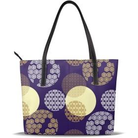 バッグ 紫色の日本の文化パターントートバッグ メンズ レディース ビジネス トート 大容量 A4 B4 レザー 革 通勤 通学 軽量 カジュアル 縦型 旅行 丈夫 防水