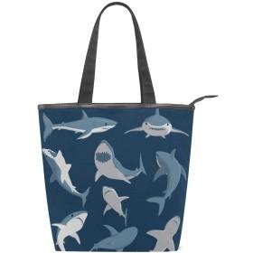 トートバッグ キャンバス バッグ 多機能 多用途 手描きサメ柄 ショルダー バッグ ハンドバッグ レディース 人気 可愛い 帆布 カジュアル