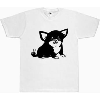 チワワ Tシャツ (ホワイト)ブラックタン 黒 犬