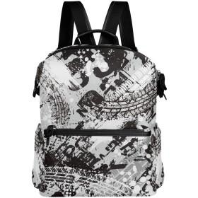 白黒 リュック 学生用 デイパック レディース 大容量 バックパック 男女兼用 機能性 大容量 防水性 デザイン 旅行 ブックバッグ ファション