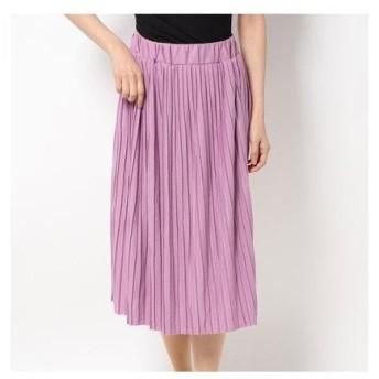 セシール CECILE カットソープリーツスカート(70cm丈) (モーヴ)