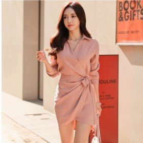 ミニワンピース 韓国 韓国 ファッション ワンピース ミニ丈 Vネック 大人可愛い セクシー フェミニン ウエストマーク