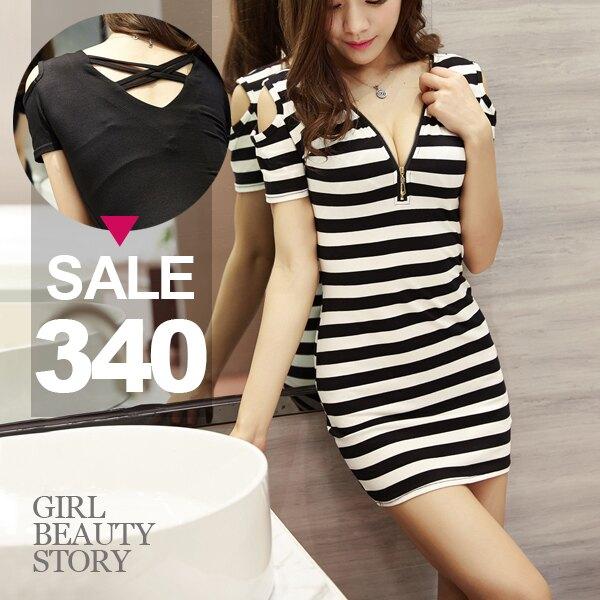 SISI【D7111】深V低領爆乳鏤空露背挖肩短袖修身縮腰包臀連身短裙洋裝