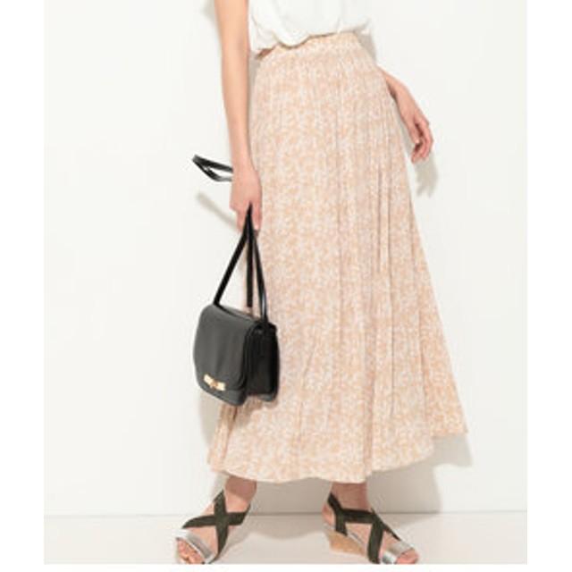 【ViS:スカート】【WEB限定】小花柄プリーツロングスカート