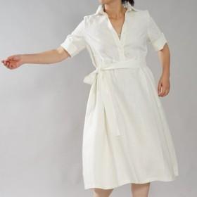 【wafu】中厚 リネン ワンピース シャツドレス 5分袖 タックスカート スリット袖 /ホワイト a064b-wht2